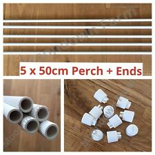 5 x 50cm Lengths Plastic Perch & Ends 12mm for Finches,Canary,Budgie,Birds etc