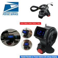 Thumb Trottle with Power Switch LED Voltage Display For 22mm Grip Electric Bike