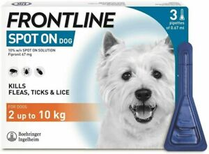 Frontline Spot On Flea and Tick treatment for Small Dog 2-10kg (3 Pipettes)