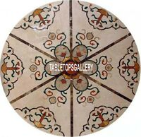 48'' Marble Round Dining Table Top Furnishing Inlay Art Garden Decorative H3999D
