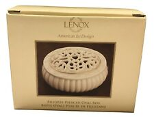 Lenox Filigree Pierced Oval Porcelain Covered Box