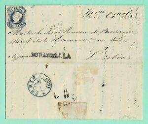 PORTUGAL D.Maria II 25r Blue Cover Nov 1854 s/l MIRANDELLA Cancel 184 > LISBOA