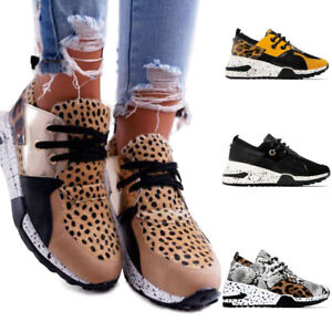 Women's Platform Wedge Sneakers Running Trainers Slip On Comfy Sports Shoes Size