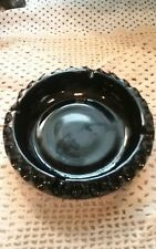 VINTAGE BLACK MILK GLASS ASHTRAY HONEYCOMB PATTERN BOTTOM