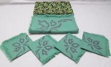Vintage Boxed Set of 4 Cloth Napkins and Tablecloth Green & Purple Batik New