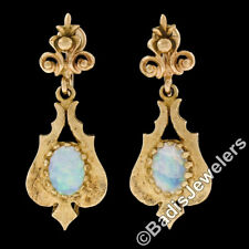 Vintage 14k Yellow Gold Oval Cabochon Opal Florentine Non pierced Dangle Earring