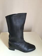 WOMEN LADIES MARKON BLACK SHELLY LEATHER MID CALF BOOTS SIZE UK 6