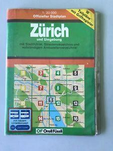Zürich Stadtplan gebunden in Plastik mit Zusatzinformationen -