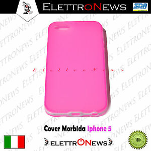 Cover Tpu Iphone 5 Semirigida Particolare Colore Rosa - Bianco Nuova