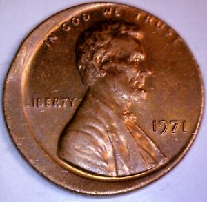 1971 ERROR Off Center Lincoln Cent Coin ~ NICE SHARP Early Date O/C LOT #2  NR