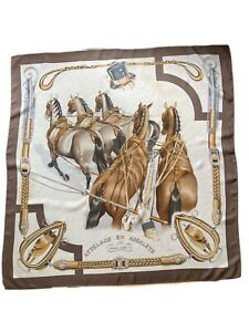 Vintage Hermes Silk Scarf, Attelage en Arbalete, Philippe Ledoux