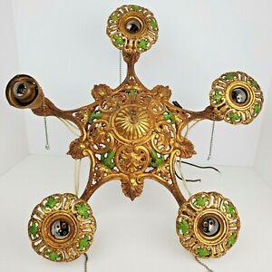 Antique Art Nouveau 5 Bulb Ornate Deco Brass Tone Metal Hanging Chandelier Light