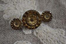 ANTIQUE Edwardian gold lustre black glass button brooch