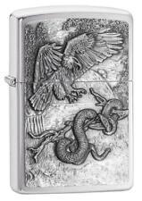 Zippo 29637, Eagle Vs. Snake, Emblem, Brushed Chrome Finish Lighter