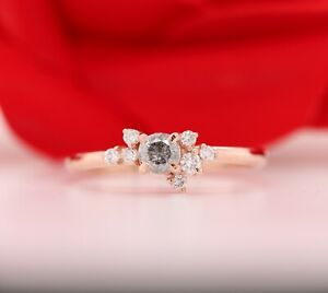 Round Brilliant Cut Diamond Salt and Pepper 14K Rose Gold Ring For Engagement