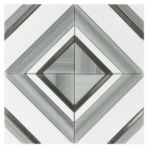 Modern Diamond Square Gray Black White Marble Mosaic Tile MTO0527