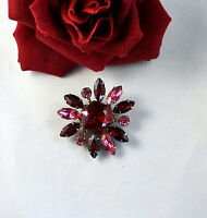 Vintage Pink & Red Rhinestone Pin  Brooch  CAT RESCUE