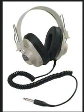 NEW Vintage Califone 2924AV-P Over The Ear Mono Headphones Coiled Cord Retro