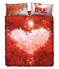 Completo Copripiumino Lenzuola Matrimoniale Love Everywhere Cuore Rosso Bassetti