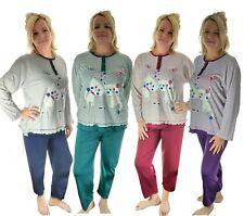 Damen zweiteiliger Schlafanzug Pyjama-Set THERMO leicht angerauht KATZEN Neu