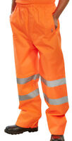 BSeen High Visibility Orange Waterproof PVC Polyester Trousers Work Pants Hi Viz