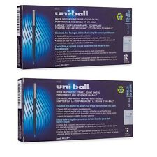 24 - UNI-BALL Roller Pens - MICRO BLUE 0.5mm - Rollerball - 2 Boxes of 12