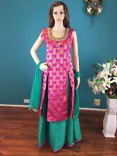 "38"" S Lehenga Skirt Indian Bollywood Silk Pink Purple Green Salwar Kameez M26"