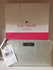 Kate Spade Little Shiloh Haven Lane Cosmetic Case WLRU2732 Silver Glitter - AUTH