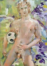 Original erotic art,nudes,gay interest,sexy male torso,model man,footbal player