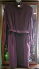 SILK VINTAGE DRESS IN EGGPLANT AUTHENTIC DANA BUCHMAN LONG SLEEVE BELTED 14