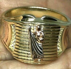 GOLD Mens Ring St saint jude san judas 14k Simulated diamond solid 10 8 9 11 12