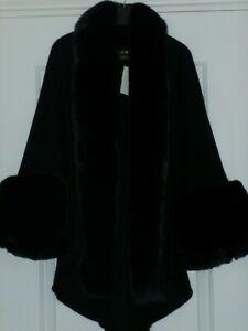 NEW FRANK USHER Faux Fur Trimmed Cape - Black - One Size - Regular Length