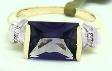 Genuine AMETHYST & Diamonds 14k Yellow Gold Ring