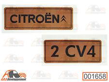 MONOGRAMME autocollant doré (STICKER) pour coffre / malle de Citroen 2CV4 -1658-