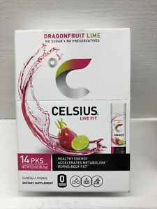 Celsius Live Fit Dragon Fruit Lime - No Sugar - 14 Individual Packs