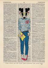 Badger Girl With Clutch Dictionary Art Print Wall Vintage Picture Animal Clothes