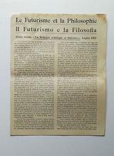 Joly Auguste IL FUTURISMO E LA FILOSOFIA 1912 Marinetti Paolo Buzzi Govoni