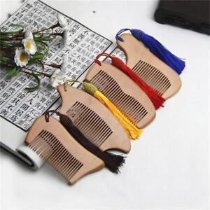 Comb Head Massage Anti-Static Beard Tassel Peach Wood Pocket Comb Tool N3