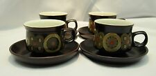 4 Denby Samarkand Brown Arabesque Cups and Saucers