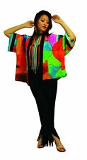 Delaunay Inspired Hand Painted Art to Wear Silk Kabuki Jacket   OS Plus Size 239