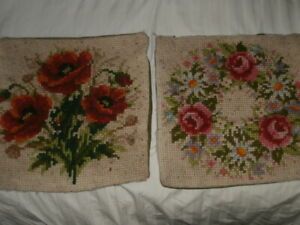 "Pair Vintage Cushion Covers Hand Made Textile Wool Poppy Roses 15"" x 15"" Flowers"