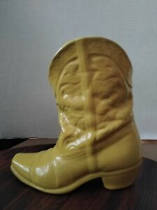 Yellow Frankoma Cowboy Boot Wall Base Planter 133