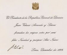 PERU 1971 - 1975 President  Juan Francisco Velasco Alvarado Signed Greeting Card