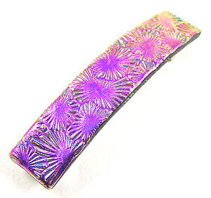 """Dichroic Glass Barrette 3.5"""" 90mm Hot Pink Magenta Floral Patterned Hair Clip"""