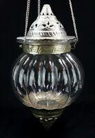 "LARGE VINTAGE MOROCCAN STYLE HANGING CANDLE LANTERN LIGHT 27"" - TIN & GLASS"