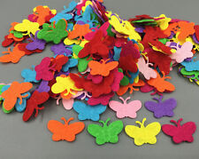 100X Mixed Colors Die Cut Felt Cardmaking decoration Butterfly shape 22mm