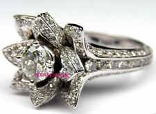 Certified UNIQUE Flower Rose Diamond Engagement Wedding Ring set 14K White Gold