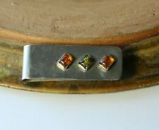 Vintage Sterling Silver & Baltic Amber Russian Money Clip ~ Hallmarked