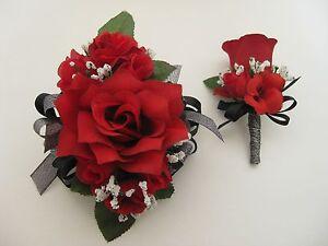 Wedding Prom Metallic Black Red Rose Flower Wrist Corsage Boutonniere