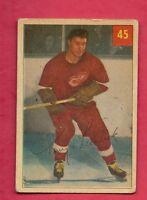 1954-55 PARKHURST # 45 WINGS TONY LESWICK LUCKY CARD
